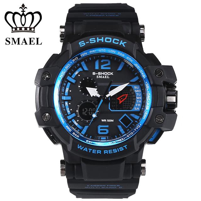 SMAEL Marca Nueva Moda Reloj Deportivo Hombres al aire libre Militar Del Ejército de Lujo Doble Movimiento Clásico Casual Reloj Digital LED
