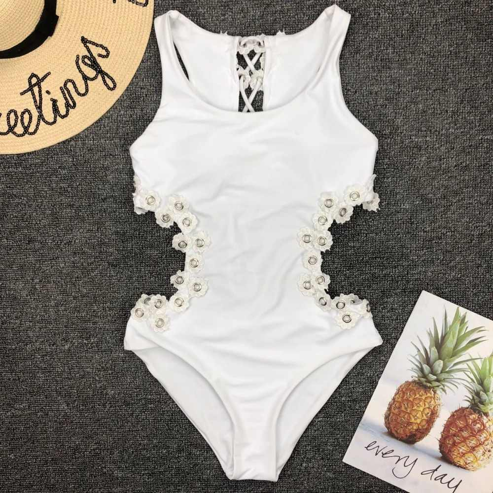 Jednoczęściowy strój kąpielowy 2019 3D kwiat powrót bandaż Backless stroje kąpielowe kobiety biały strój kąpielowy wzburzyć strój kąpielowy monokini na plażę