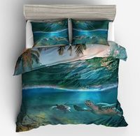 hot sale HD underwater worl Tortoise bedding sets Print white blue fish shell Turtle coral duvet cover pillow case Deep Ocean
