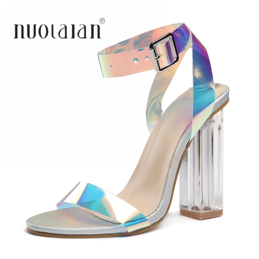 HTB1VfXybtfvK1RjSspoq6zfNpXa7 Fashion PVC Women Sandals Summer Open Toed High Heels Women Transparent Heel Sandals Woman Party Shoes Discount Pumps 11CM