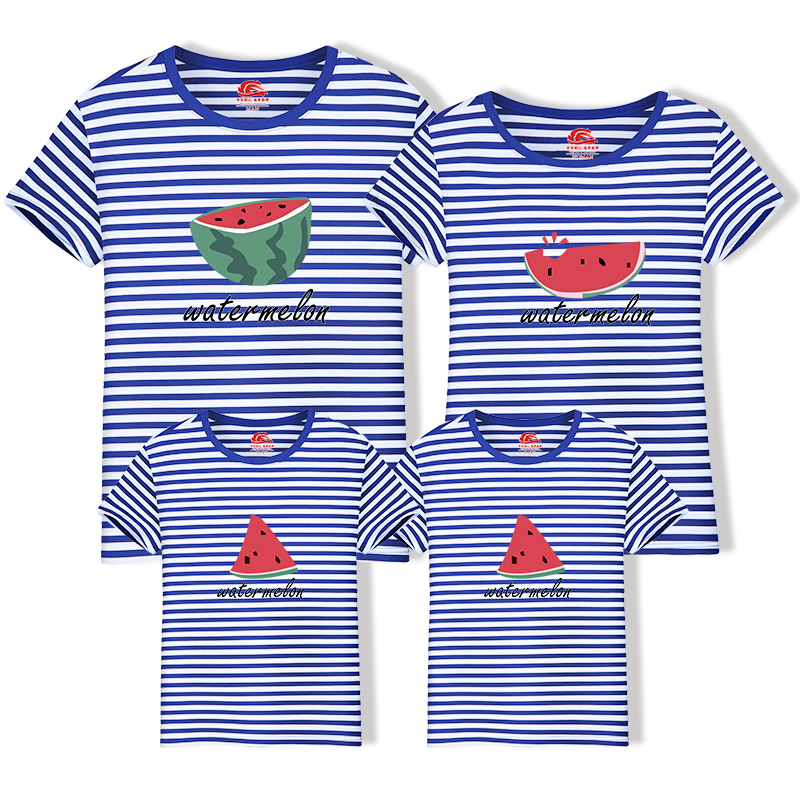 HTB1VfYPnKuSBuNjy1Xcq6AYjFXa1 - Family Look Cotton Mother Father Son Daughter Clothing Family Matching Outfit Summer Short Sleeve T Shirt Top Clothes Watermelon