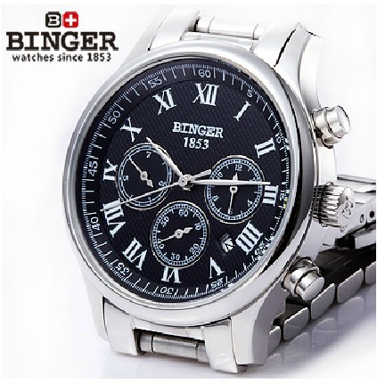 Free shipping Wristwatches BINGER accusative Mechanical Wristwatches Multi Display mens watches Water Resistant