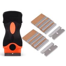"EHDIS Triumph Razor Scraper+10Pcs 1.5""Carbon Steel Razor Blade Old Film Glue Car Sticker Remover Squeegee Knife Cleaning Tools"