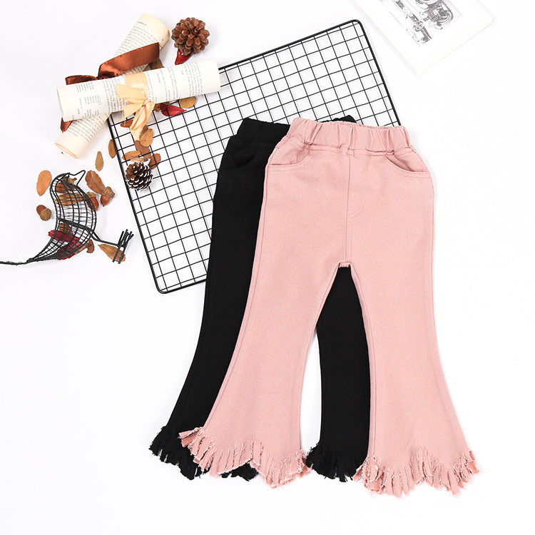 Girls bellbottoms spring 2017 new children all-match stretch jeans baby pants pants tidal range
