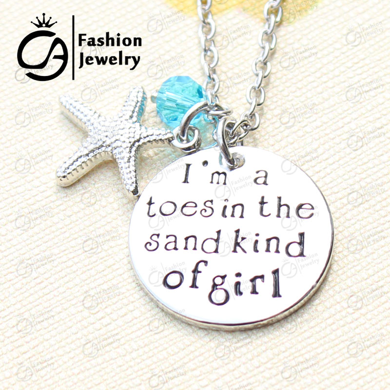 I am a toes in the sand kind of girl Charm Necklace Christmas Gift Beach Jewelry 20Pcs/Lot #LN1280