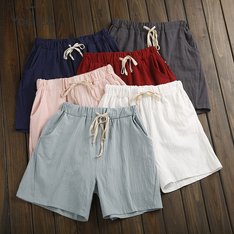 NEW 2018 Summer Shorts Women Cotton Shorts feminino Women's Elastic Wasit Home Loose Casual Shorts 1282 01 08