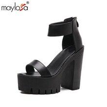 MAYLOSA Sommer Frauen Sandalen Plattform Neue Marke Fischer Offene spitze Mode Sommer Schuhe Frau stiefeletten Ferse Höhe 13 cm