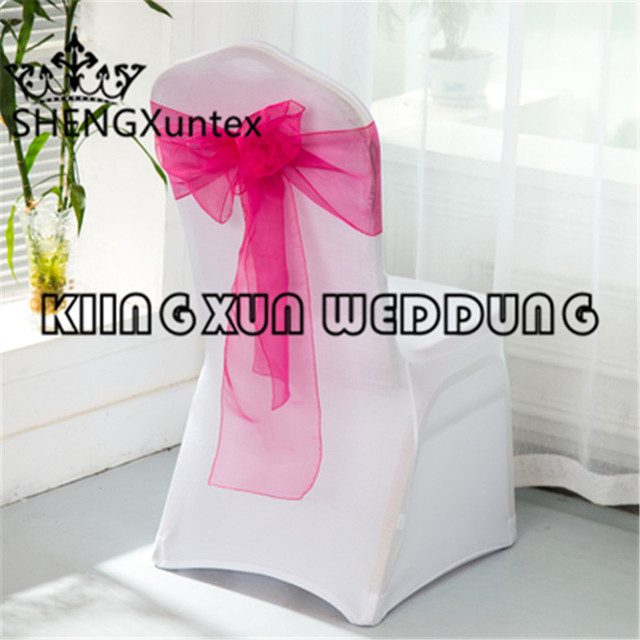 Beautiful Looking And Cheap 100pcs White Color Spandex Chair Cover With 100pcs Organza Chair Sash