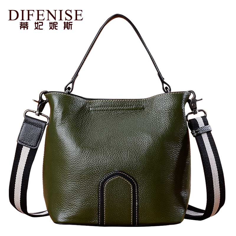 цена на Difenise Fashion Genuine Leather Bucket Bag Women High Quality Cowhide Shoulder Handbags Brand Desinger Ladies Crossbody Bags