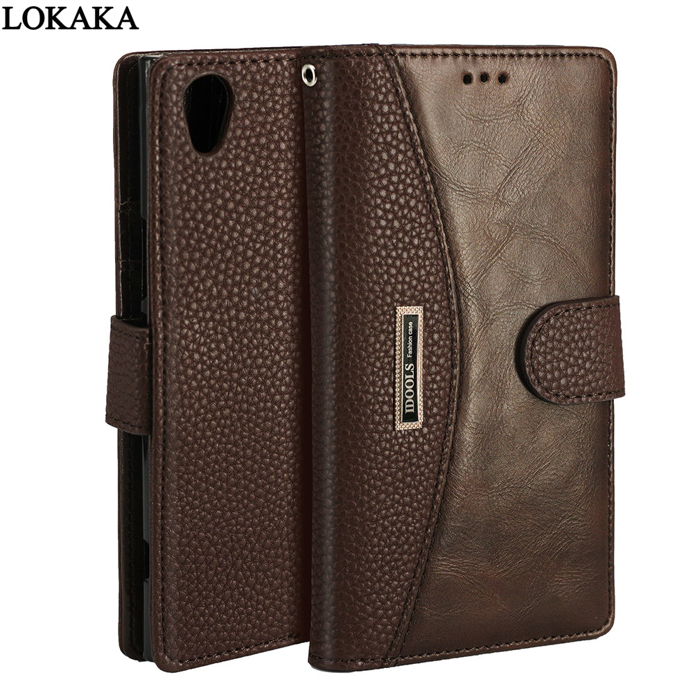 LOKAKA Case For Sony Xperia XZ2 L1 L2 XA1 Plus XA2 Ultra XA XZ1 Compact PU Leather Wallet Flip Cover Cases for Sony XZ Premium