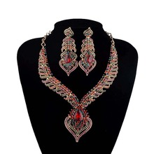 India Bridal Wedding Necklace font b earrings b font sets Gold Plated font b Crystal b