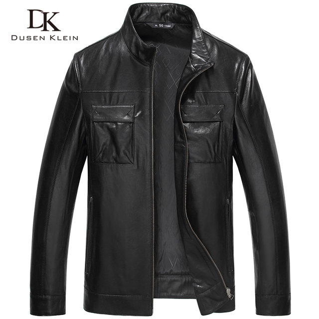 Brand Leather jacket men Luxury Genuine sheepskin Motorcycle Slim Designer Coat black 61J5813