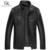 Marca chaqueta de Cuero Diseñador de los hombres de Lujo de piel de oveja Genuina ropa de la Motocicleta Delgada Capa negro 61J5813
