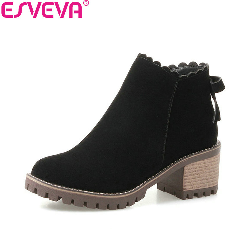 ESVEVA 2018 Square High Heels Women Boots Scrub PU Ankle Boots Short Plush Round Toe Black Western Style Ladies Boots Size 34-43 top quality guiding light design led drl daytime running light for citroen c5 2013 2014 super bright fast shipping
