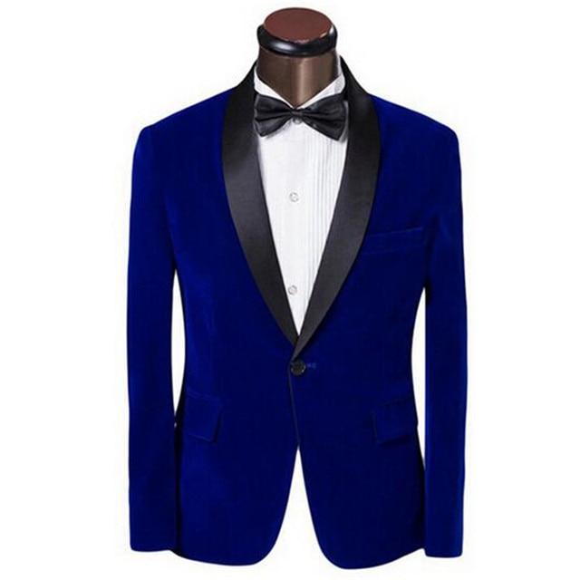 1dee5c73f860 New suit jacket man dress jacket velvet material sapphire blue jacket black  green apple collar custom jacket