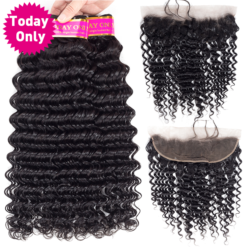 TODAY ONLY Brazilian Deep Wave 3 Bundles With Frontal Human Hair Bundles With Frontal Brazilian Hair