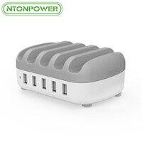 Ntonpower 5 Порты USB Зарядное устройство рабочего док-станции 2.4a Smart зарядки для iPhone/iPad/Xiaomi с держатель телефона