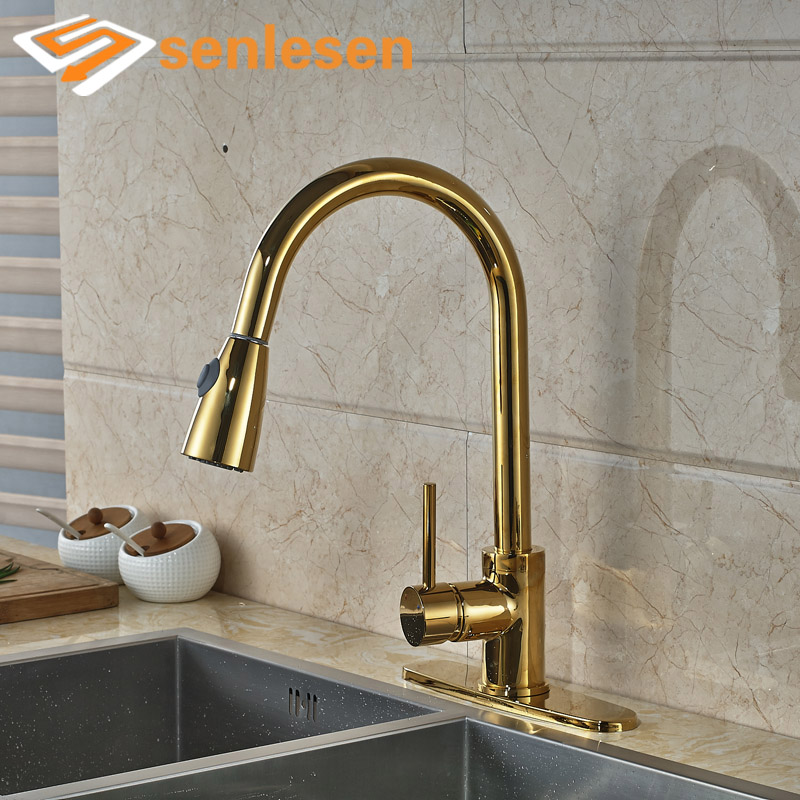 Фотография Luxury Kitchen Sink Faucet Gold Finish Single Handle with 10 inches Hole Cover Plate Deck Mounted Water Taps
