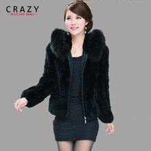 Женское пальто больших размеров XL XXL 3XL 4XL 5xl короткое дизайнерское пальто из искусственного кроличьего меха с воротником из лисьего меха дешевые женские пальто из искусственного меха
