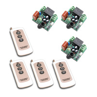 Latest Mini Size 220V 1CH 10A Wireless Remote Control Switch Relay Receiver 3pcs Transmitter 4pcs With