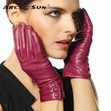 2014 new women genuine leather gloves warm thicken winter wrist goatskin touchscreen L003NR1