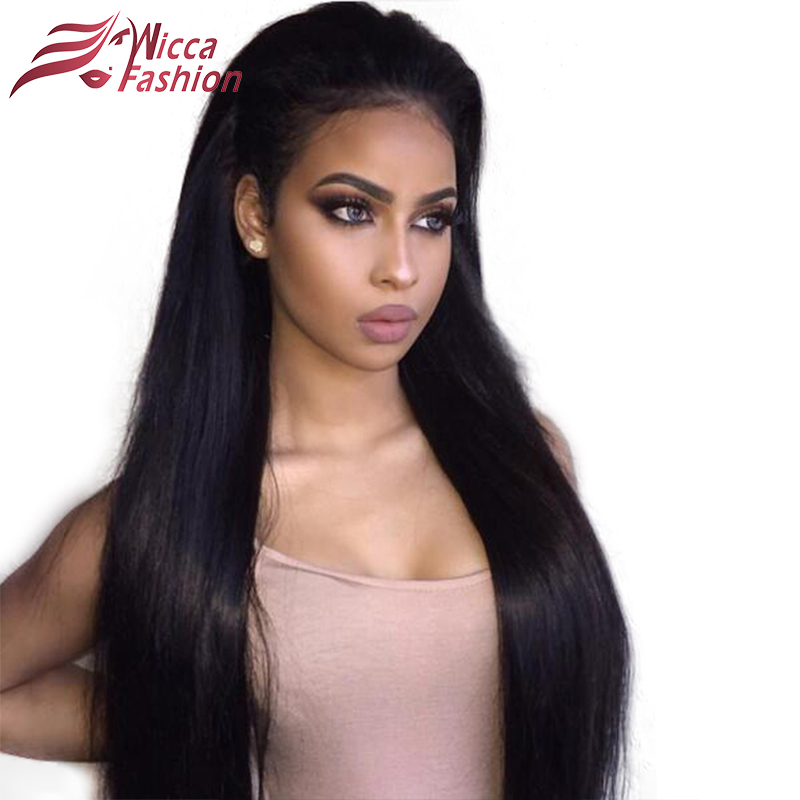 wicca fashion 180% Density Lace Front Human Hair Wigs For Black Women Brazilian Remy Hair Silky Straight With Baby Hair