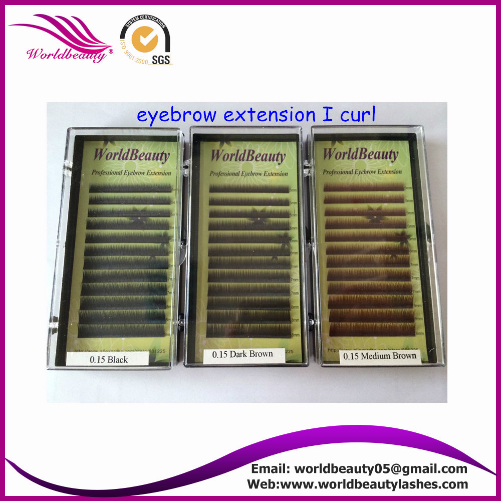 Free shipping 10trays/lot, natural curl eyebrow extension, black, dark brown, med brown, M5-6-7-8mm
