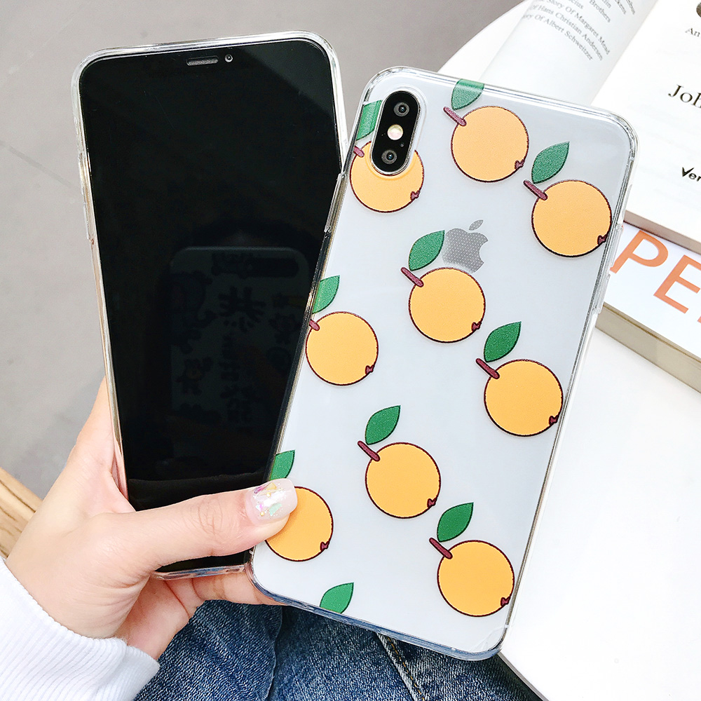 KIPX1084_2_JONSNOW Phone Case For iPhone XS Max XR XS 7 Plus 8 6 6S 6 Plus Fruit Oranges Pattern Clear Soft Silicone Back Cover Capa Fundas