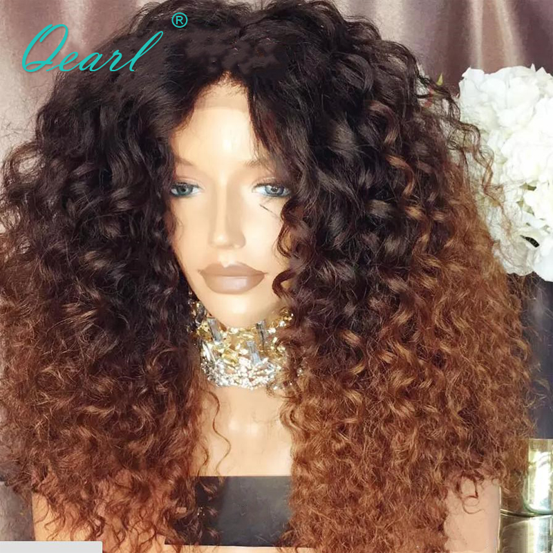 150% Densité Crépus Bouclés Avant de Lacet Perruque #1b/30 Ombre Avant de Lacet Bouclés Perruque Remy Cheveux Pré Pincées avec Naturel Dégarni Qear Cheveux