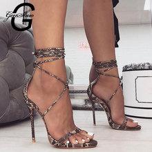 GENSHUO 2020 Summer Fashion skóra węża pasek na kostkę kobiety sandały wiązane krzyżowo bardzo wysokie buty na obcasie pumpy damskie sandały buty
