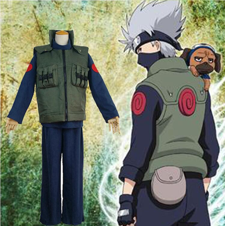 New Anime Naruto Cosplay Clothes Costumes Shinobi Hatake Kakashi Green Unisex Vest Jacket Party Purim Carnival Cosplay Costume