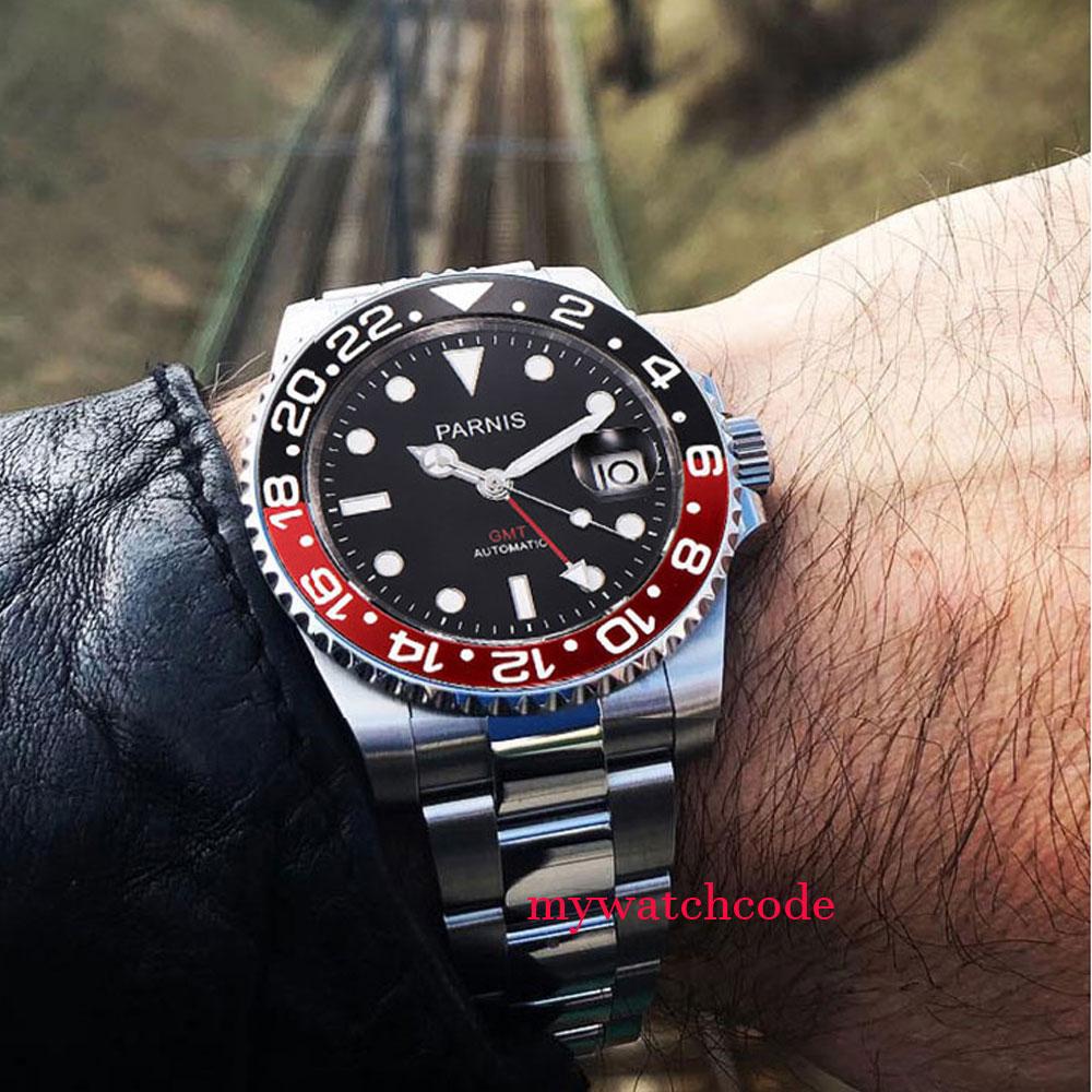 40mm parnis relógios mecânicos preto vermelho cerâmica moldura mostrador preto gmt marcas luminosas vidro de safira relógio automático dos homens