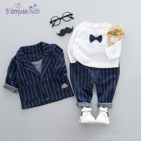 Baby Boy Clothes Spring Clothing Sets With Bow 2018 Cotton Kids Boys Clothes Plaid Baby Sets