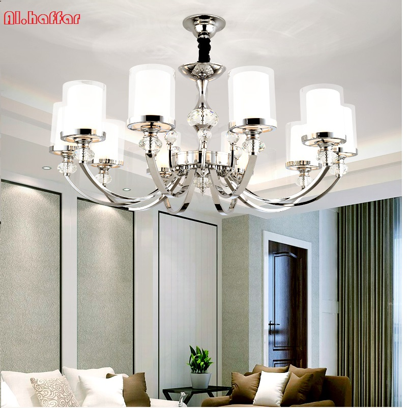 Modern new LED Chrome color metal Crystal Chandeliers Lighting Led Pendant Chandelier Lighting Fixture Lamp For living room