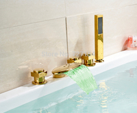 Free shipping! Deck Mounted LED Bathtub Faucet Golden Brass Sink Mixer Tap Hand Shower Sprayer