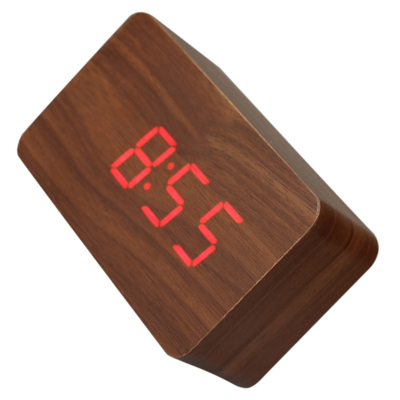 Best Wooden LED Digital Clock Alarm Clock Time Thermometer Calendar USB / AAA brown and red