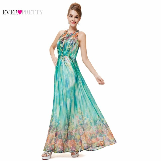 f0b1d55568 Prom Dresses Ever Pretty HE08258 2018 Floral Printed Dresses Halter Maxi  Beach Long Sexy Plus Size