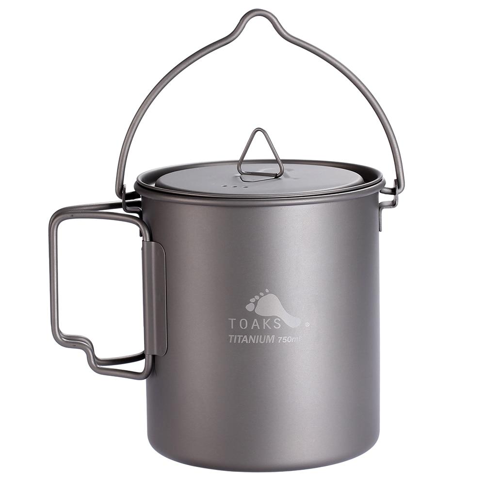 TOAKS Titanium Outdoor Camping Pot Cooking Pots Picnic Hang Pot Ultralight Titanium Pot 750ml