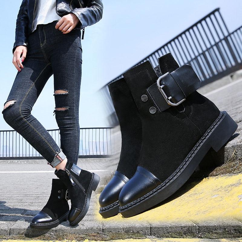 Damen Leder Jookrrix G Winter Schuhe Winterstiefel Schwarz Martin Echtes Ankle Neue Warme Marke Lady Herbst Mode 7bvygYf6