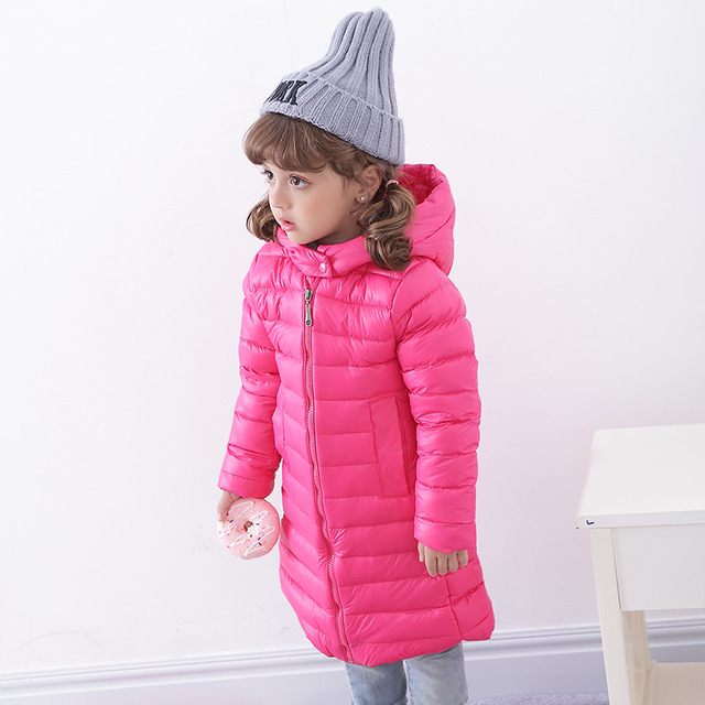 Girls Winter Light White Duck Down Coat Kids Jacket Hooded Long Sections Children Clothes Receive Warm Parka Outerwear Snowsuit