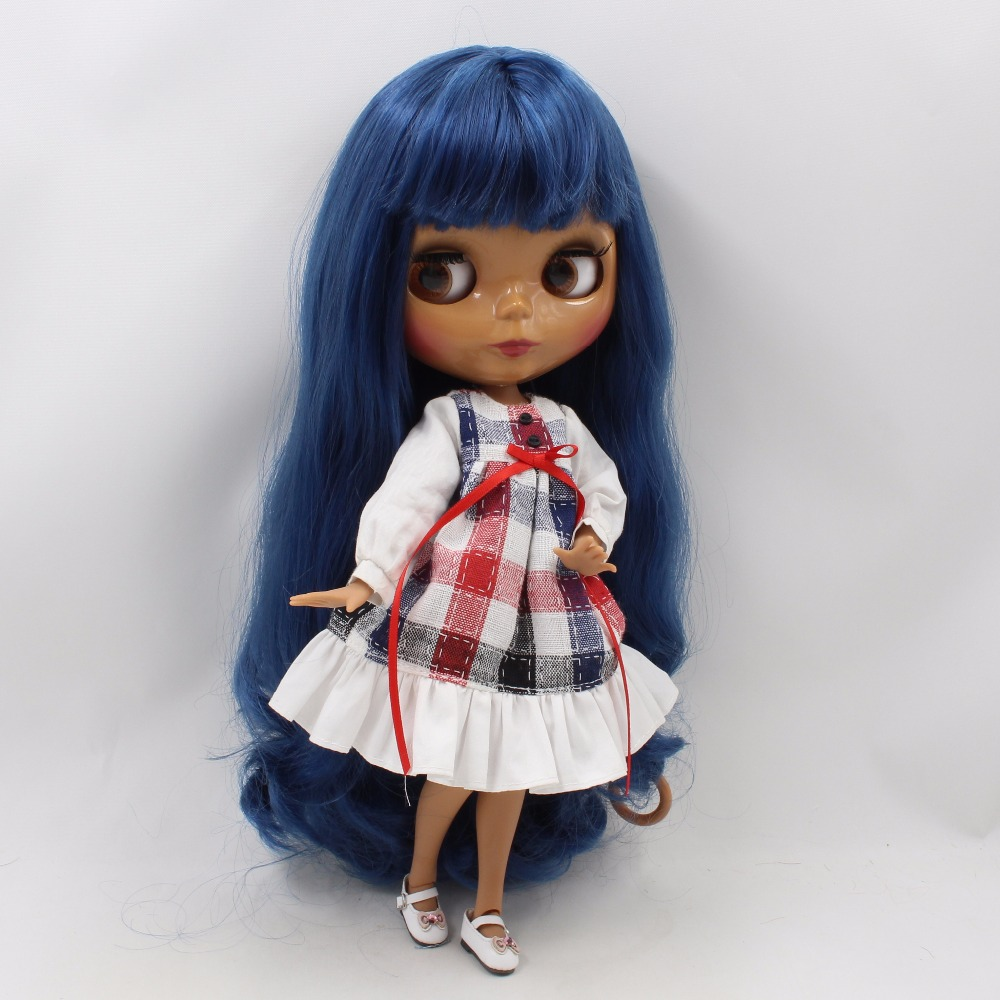 Neo Blythe Doll with Blue Hair, Dark Skin, Shiny Face & Jointed Body 3