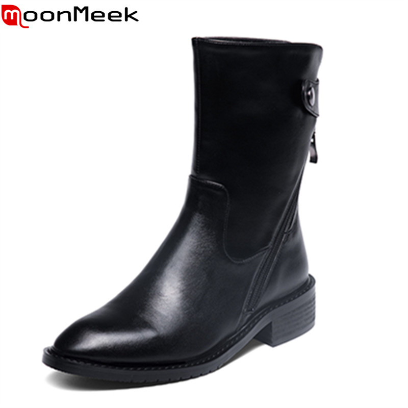 ФОТО MoonMeek comfortable low thick heels popular pointed toe solid colors ankle boots for women in spring with high quality
