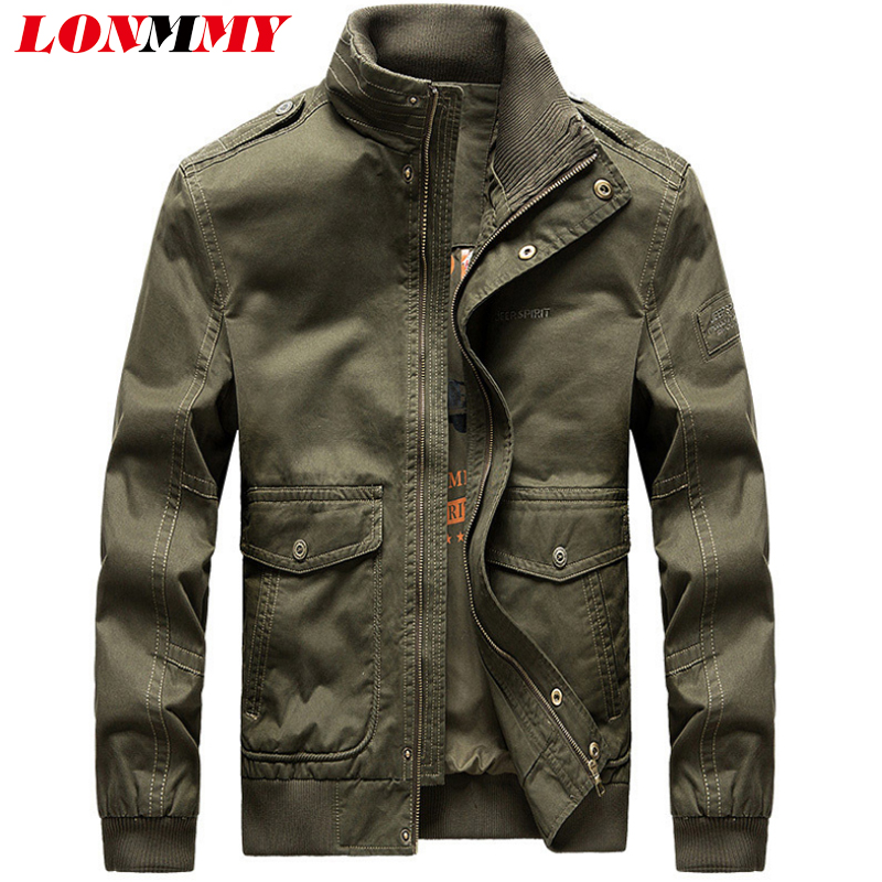 LONMMY Bomber jacket men Cotton streetwear Casual Outerwear coat Military mens jackets and coats chaqueta hombre army green slim