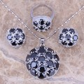 Black Created Sapphire 925 Sterling Silver Jewelry Sets Earrings Pendant Ring Size 6 / 7 / 8 / 9 / 10 / 11 / 12 S0025
