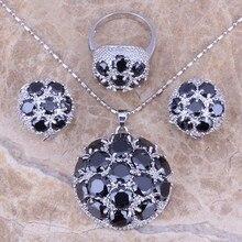 Negro Creado Sapphire 925 Tamaño Del Anillo de Plata de La Joyería Pendientes Colgante 6/7/8/9/10/11/12 S0025