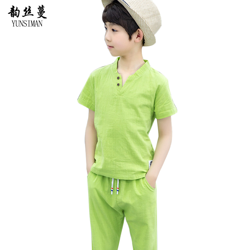 Baby Boys Clothes Summer Clothing Sets Kids Children Casual Green Cotton Linen Pants Tees Shirt Clothing Suits 6 8 10 12 Y 5C57