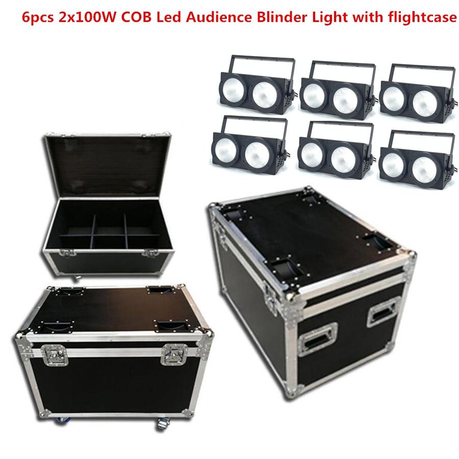 6pcs 200W COB Led Audience Blinder Light With Flightcase 2eyes RGBWA UV 6in1 2x100W Led Strobe Disco Dj Lighting LED Par Light