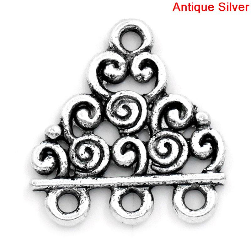 DoreenBeads Zinc Metal Alloy Connectors Findings Triangle Antique Silver Circle Pattern Color 18mm X 17mm ,8 PCs 2015 New