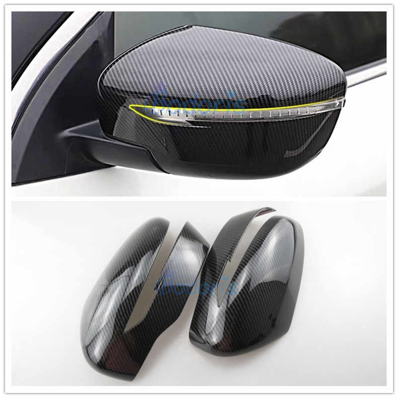 Serat Karbon Mobil Styling Pintu Cermin Penutup Kaca Overlay Panel Trim 2016 2017 2018 untuk Nissan Qashqai Nakal Aksesoris Olahraga