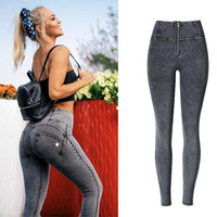 Sexy high waist jeans Woman Peach Push Up Hip Skinny Denim elasticity Pant For plus size women jeans black grey navy blue